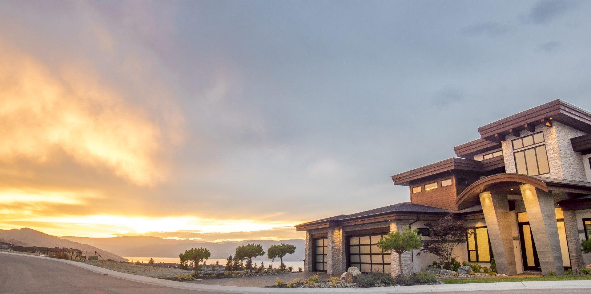 Modern Home Exterior Sunset