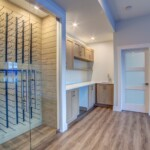 Wine rack and basement kitchen