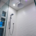 Bathroom shower wavy white tile