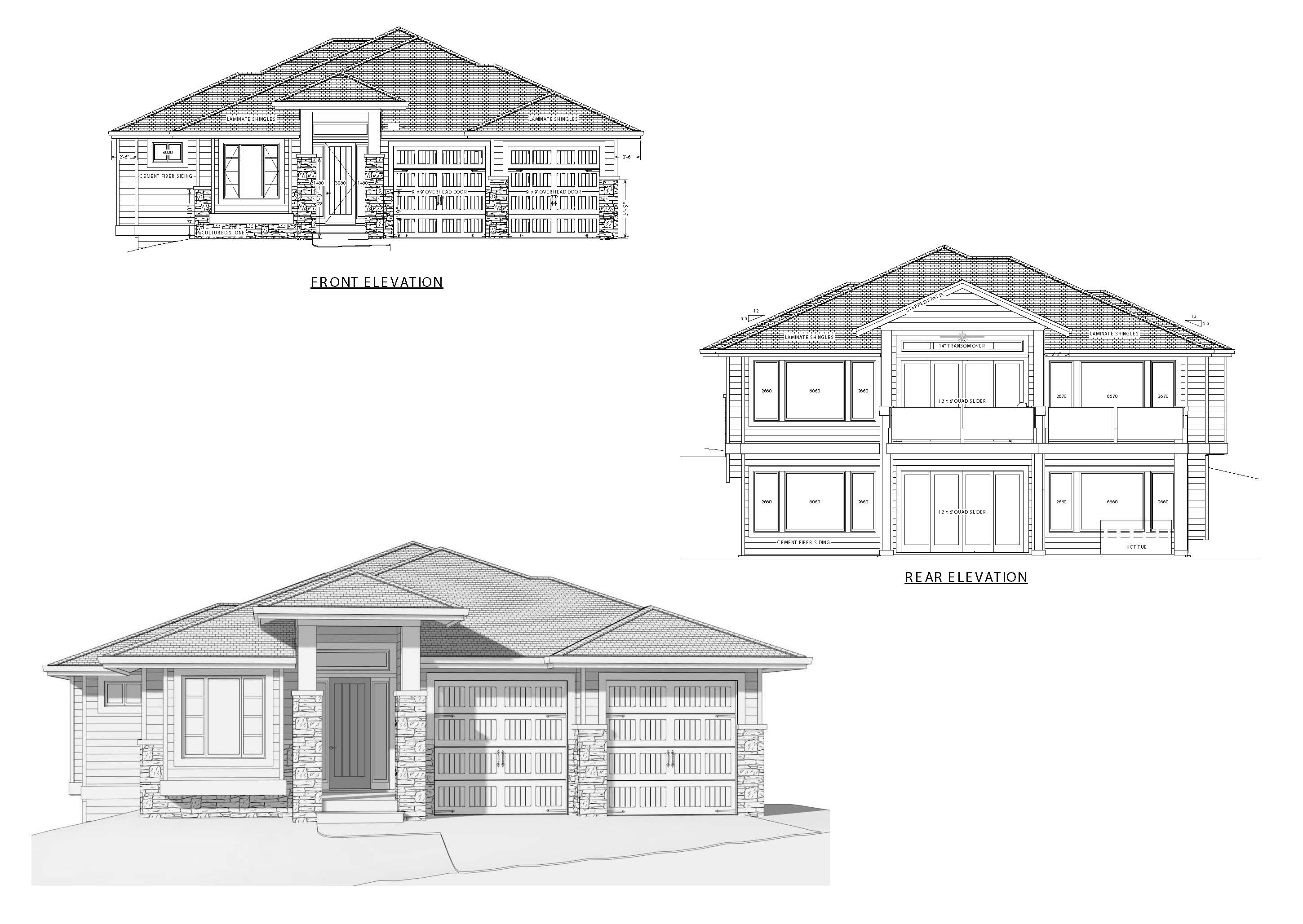 The Columbia Page 1 - Custom Home Plans / Elevations