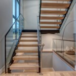 Wood, Steel, Glass, Cable Stairway